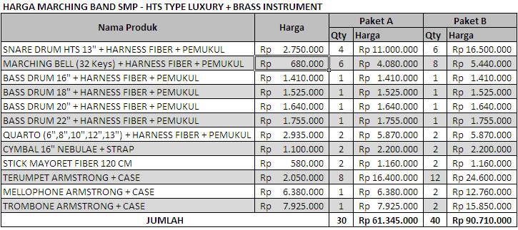 harga marching band SMP - HTS  Luxury BI