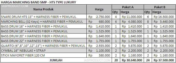harga marching band SMP - HTS Luxury